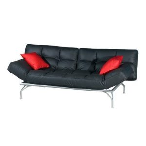 Kyo Mini Alpha Three-Seat Sofa-Bed_PU Black (1)
