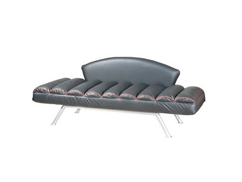 TOM Chaise Lounge Three Seat Sofa Bed PU Black with Red Piping Kian