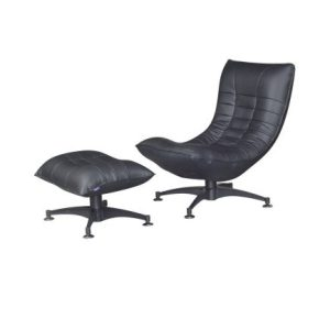 Iris Recliner Relax-Chair With Pouf_Half Leather Black (1)