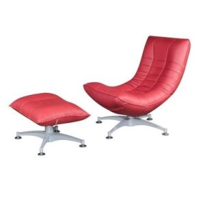Iris Recliner Relax-Chair With Pouf_Half Leather Red (1)