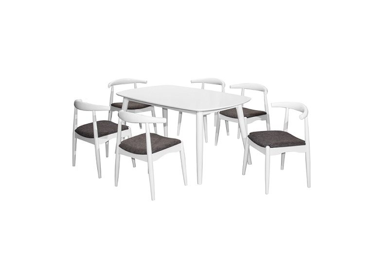 Miami Dining Set (1+6) White_